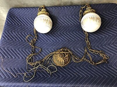 Vintage Double Swag Light Fixture hollywood regency french gold ceiling hanging