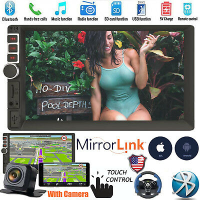 """7"""" 2Din Car Stereo Touchscreen MP5 Player AUX USB TF Bluetooth +Backup Camera"""