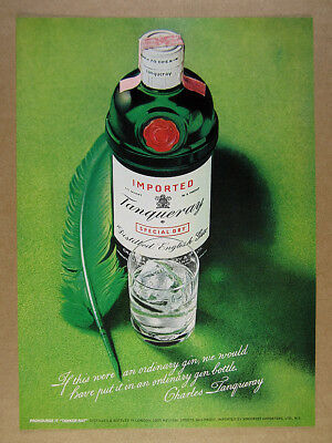 1973 Tanqueray Special Dry Gin bottle & quill pen photo vintage print Ad