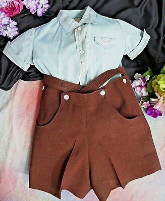 Antique BOY CLOTHES brown short pants KNICKERS & blue SHIRT set England DOLLS