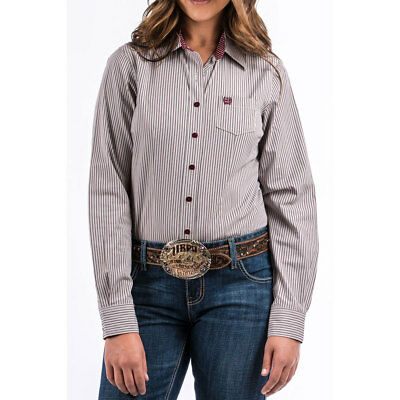 20516f40 MSW9164081 Cinch Women's Stripe Button Up Long Sleeve Western Shirt Multi  Color