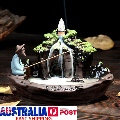 Ceramic Fish Smoke Backflow Tower Incense Burner Holder Censer Fragrant Decor