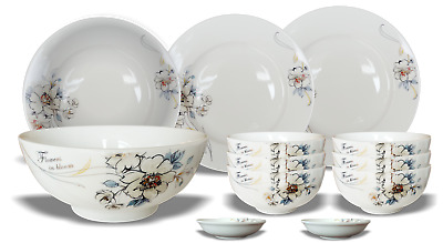 Minh Chau Flower Porcelain Soup,Cereal Bowls set of 10, 4.5 inch European Stand