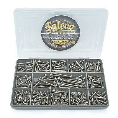 260 PIECE ASSORTED A4 MARINE GRADE STAINLESS STEEL 8g POZI PAN WOODSCREW KIT