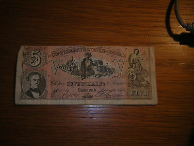 Banknote 1861 FIVE DOLLARS Richmond CONFEODERATE STATES OF AMERICA