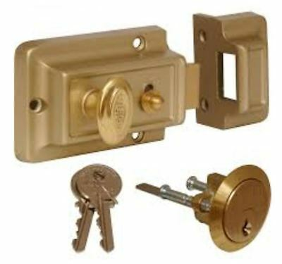 Brand New Standard Champagne Front Door Lock Nightlatch Night Latch 60mm Backset
