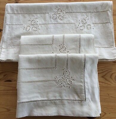 Quality Vintage Pair Linen Pillowcases & Matching Bolster Cover