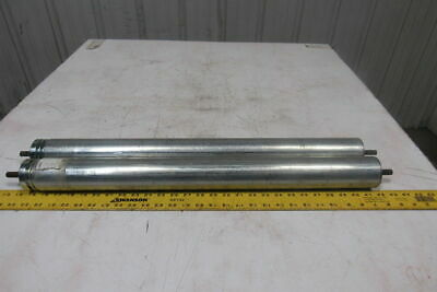 """2-1/2"""" OD 27-1/8""""BF 2 Groove Conveyor Roller 7/16"""" Hex Axle Lot Of 2"""