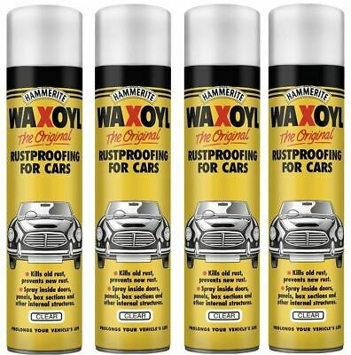 4x Hammerite Waxoyl Car Aerosol Rustproofing Rust Prevent Seal 400ml - Clear