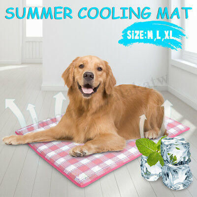 Pet Cool Gel Mat Dog Cat Bed Non-Toxic Cooling Dog Summer Cooler Pad 3 Sizes AU