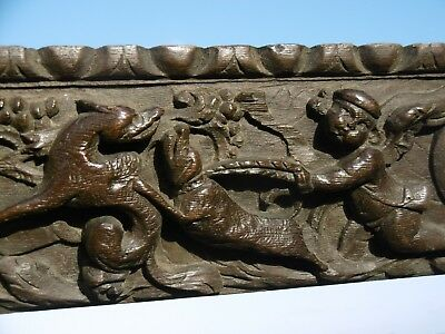 SUPERB 18thc EARLY OAK CARVED PANEL WITH CHERUBS & HUNTING DOGS IN RELIEF