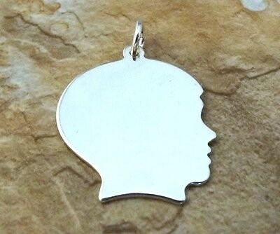 Sterling Silver Large Boy Head Silhouette Charm  with Free Engraving - 0640