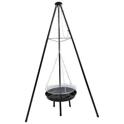 Woodside Adjustable Garden Tripod Barbecue Cooking Grill Portable BBQ Fire Pit