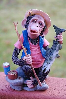 Monkey-Figurine-Fisherman-Holding A Fish & Pole-Resin-Home Decor-Whimsical-Cute!