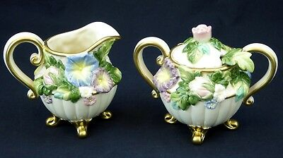 Fitz and Floyd Les Fleurs Footed Sugar Bowl w/Spoon and Creamer Embossed Floral