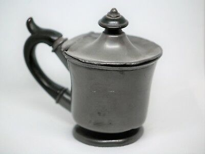 Unusual Old Pewter Covered Pot c1850