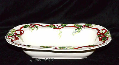 Charter Club Winter Garland * OVAL SERVING BOWL * Macy's, Christmas, Flaw