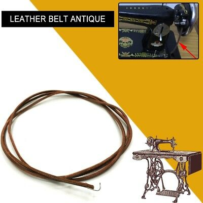 "69"" 175cm Leather Belt Antique Treadle Parts + Hook For Singer Sewing Machine"