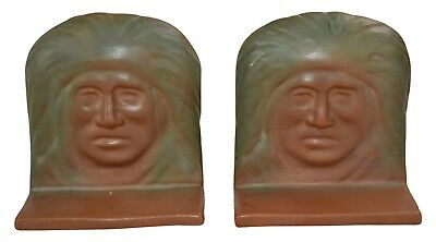 Van Briggle Pottery 1920s Native American Indian Matte Brown and Green Bookends