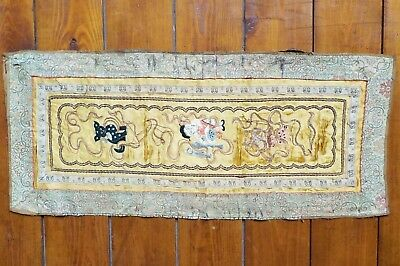 Antique Oriental Japanese Silk Embroidery c1900 very attractive but *damaged*