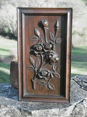 SUPERB 19thc  MAHOGANY CARVED PANEL WITH FLOWERS ON STEM (1)
