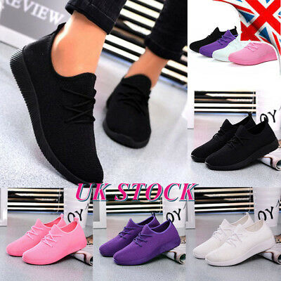 Womens Ladies Lace Up Breathable Trainers Sneakers Sport Gym Pumps Shoes Size UK