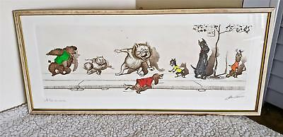 """Boris O'Klein A La Queue Signed Etching Hand Colored Art """"Dirty Dogs of Paris"""""""