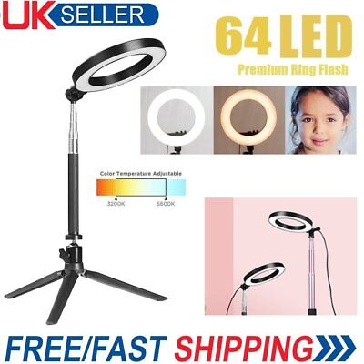 """8"""" LED Ring Light with Stand Dimmable Lighting Kit For Makeup Youtube Live UK"""