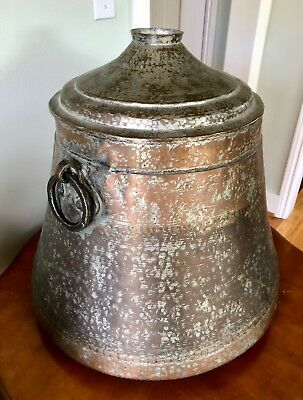 LARGE Hammered Turkish Middle Eastern Tinned Copper Cauldron Pot with Lid