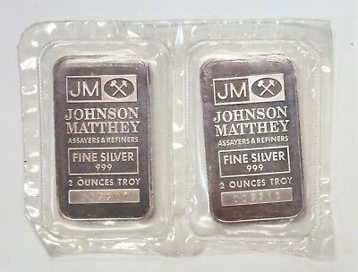 Johnson Matthey JM 2 oz..999 SILVER BAR LOT of 2 Consecutively numbered <10,000