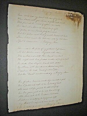 "Genuine Handwritten Poem From 1858. ""a Marrying Man"" Manuscript."