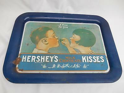 Old Vtg 1974 HERSHEY'S MILK CHOCOLATE KISSES METAL SERVING TRAY Advertising