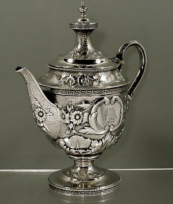 Tiffany Sterling Silver Teapot     c1865  HAND DECORATED - EAGLE CREST