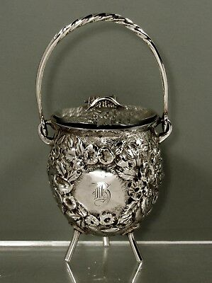 Welsh & Bro. Sterling Mustard Pot    c1895 BALTIMORE - HAND DECORATED