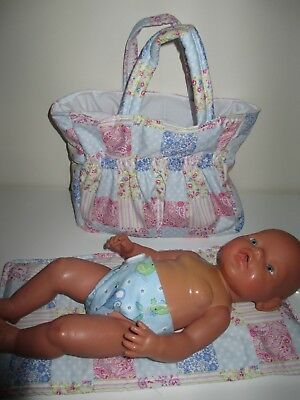 """Dolls Nappy Bag & Change pad, """"Patch Pink / Blue""""  LAST ONE"""