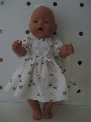 DRESS & HEADBAND suitable Baby Born  Doll White Broderie with Bee's