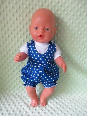 Overall & T Shirt set suitable Baby Born - Doll  Blue Stars (Boy)