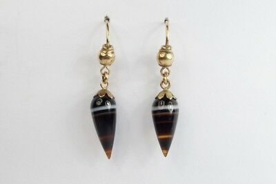 ANTIQUE VICTORIAN ENGLISH 9K GOLD BANDED AGATE SPIKE DROP EARRINGS c1880