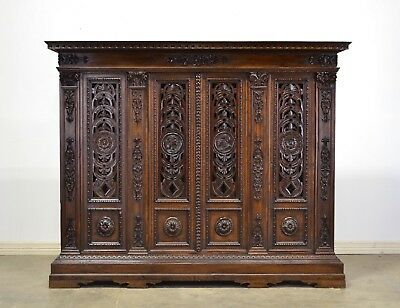 1900's Italian Antique Walnut Bookcase Carved Doors