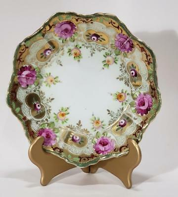 Antique Nippon Moriage hand painted Roses Dish circa 1900's