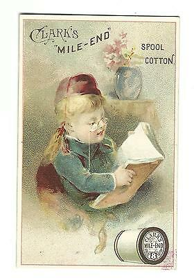 Old Trade Card Clark's Mile End Spool Cotton Thread Child Reading Spectacles
