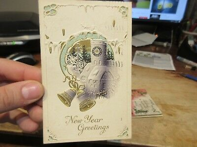 Vintage Old Antique Victorian Era Happy New Year Postcard Church Clock Chimney