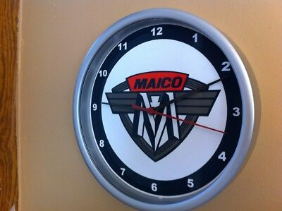 Maico Motorcycle Garage Man Cave Advertising Silver Wall Clock Sign