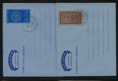 Cyprus   2  air  letter sheets  cancelled            KL0415