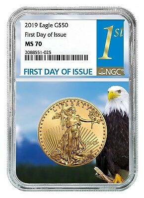 2019 $50 Gold Eagle NGC MS70 - First Day Issue - Eagle Core