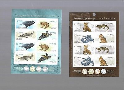 pk40889:Stamps-Canada Lot of 3 Endangered Species Booklet Panes - MNH