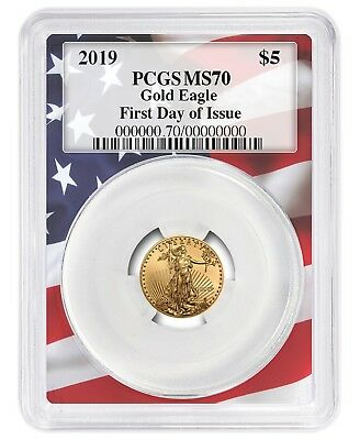 2019 $5 Gold Eagle PCGS MS70 - First Day Issue - Flag Frame