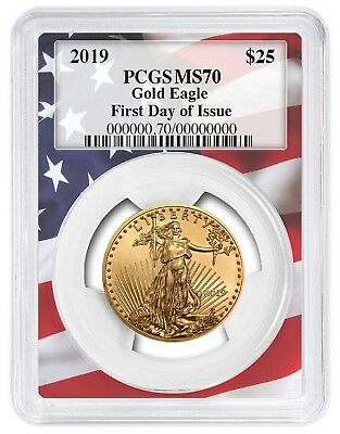 2019 $25 Gold Eagle PCGS MS70 - First Day Issue - Flag Frame