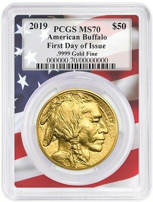 2019 $50 Gold Buffalo PCGS MS70 - First Day Of Issue - Flag Frame