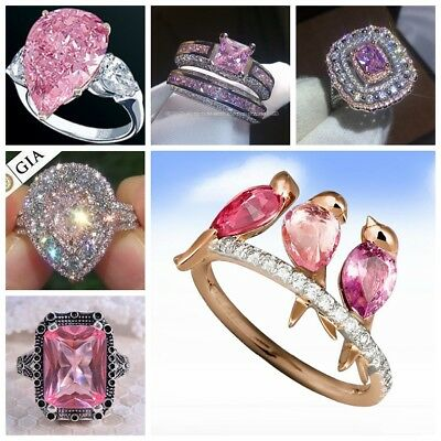 Humming Bird  Pear Cut White Topaz Pink 925 Silver Ring Engagement Jewelry 5-10